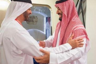 ولي العهد يغادر الإمارات ويبعث برقيتي شكر لرئيس الدولة وولي عهد أبو ظبي (صور)