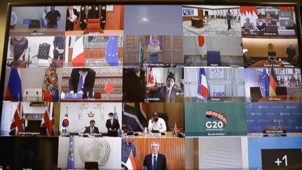 """صورة لغرف البث المباشر لقادة العالم المشاركين في """"قمة العشرين"""" الافتراضية"""